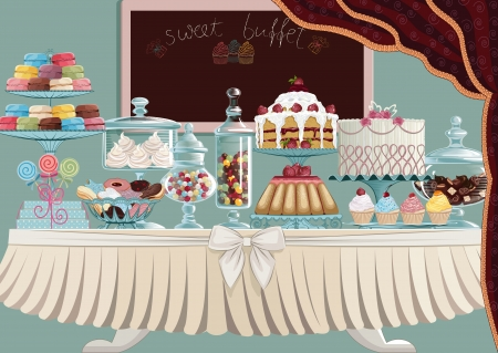 dessert stand: Different cakes on cake-stands and candies in candy jars standing on a table.  All objects are grouped and separated to layers. EPS8