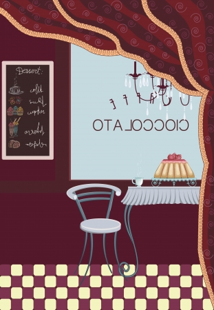 sweetshop: Interior of a restaurant with cake and cup of coffee on the table and board with drawing menu on the wall. All objects are grouped.