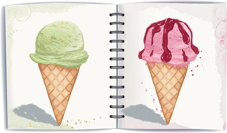 watercolor technique: two waffle cones with ice cream in watercolor technique.