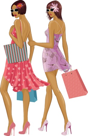 Two chic young women with shopping bags isolated over white background. Under sunglasses the faces are completely painted. Vector