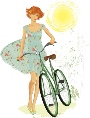 one girl only: Illustration of a cute red teen girl walking with a bicycle in summer time over white background. EPS8