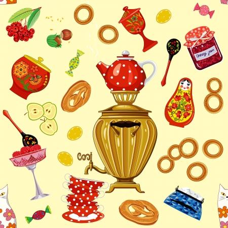 matreshka: Seamless pattern with tea set in the russian style