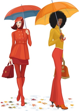 active life: illustration of two women with umbrella over white background