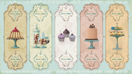 dessert buffet: Set of vintage labels with cakes and chocolate sweets Illustration