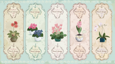 Set of vintage labels with potted flowers  Çizim