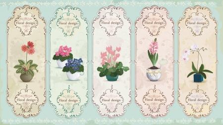 Set of vintage labels with potted flowers  Illustration
