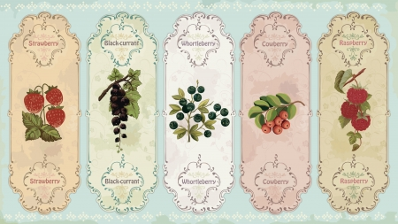 wild strawberry: Set of vintage labels with berries   strawberry, black-currant, huckleberry, cow-berry, raspberry