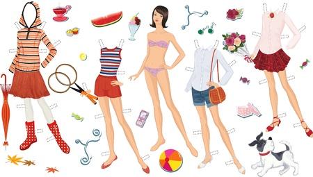 ropa de verano: Muñeca de papel de una muchacha adolescente y ropa para ella
