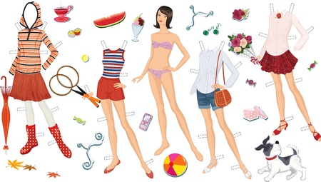 Paper doll of a teen girl and clothing for her Stock Vector - 20872732