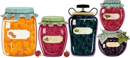 preserves: Conjunto de frascos de vidrio de mermelada de bayas frutas aisladas sobre blanco Vectores
