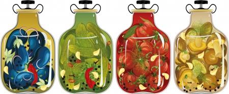 encurtidos: Conjunto de frascos de vidrio con verduras en escabeche y setas sobre fondo blanco