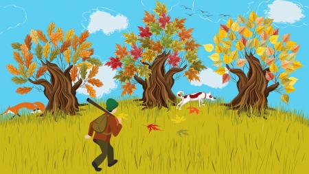 hunter man: Autumn cartoon landscape with trees and huntsman walking shooting with his dog