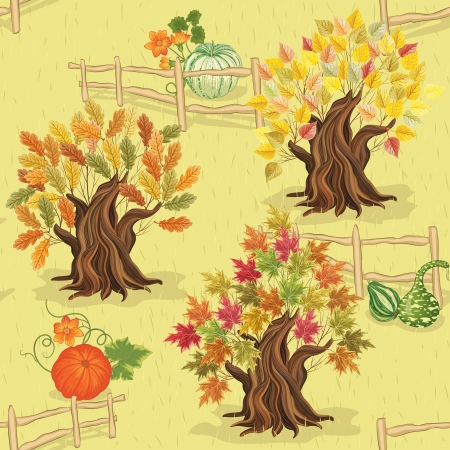 Seamless autumn pattern with trees and pumpkins