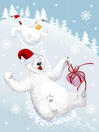 christmas fur tree: Two funny polar bears sliding down from a snowy hill