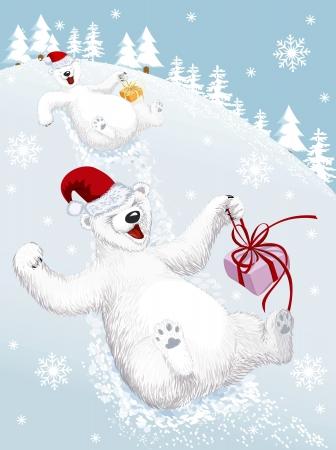 Zwei lustige Eisbären Abrutschen von einem schneebedeckten Hügel Standard-Bild - 21426206