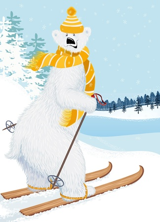 Cute shaggy polar bear skiing Vector