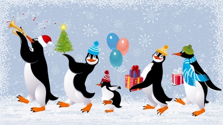 play music: Group of cute penguins in caps walking with christmas gifts