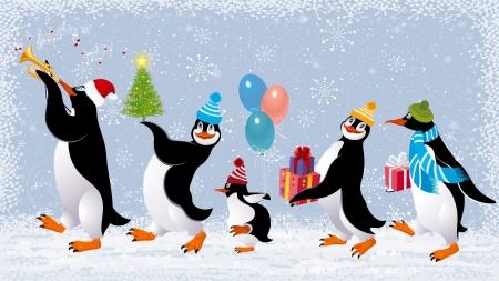 Grupa cute pingwiny w czapkach chodzenie z świąteczne prezenty