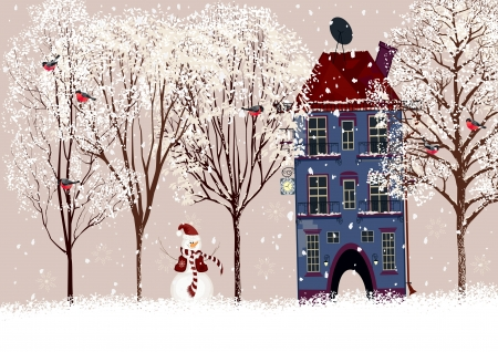 snowman background: Snow covered courtyard with trees in front of a house and a flock of bullfinches on them