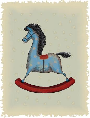 old horse: Vintage blue wooden rocking horse