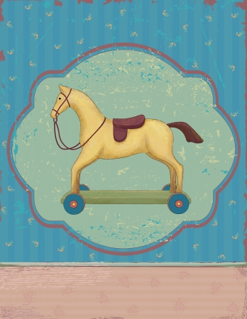 Wooden toy horse on wheels over vintage background