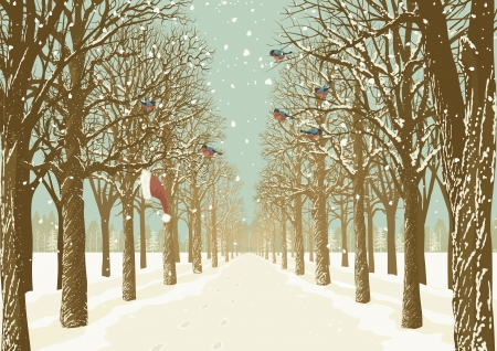 Prospect of the alley in a park with various trees on either side and flock of bullfinches Vector