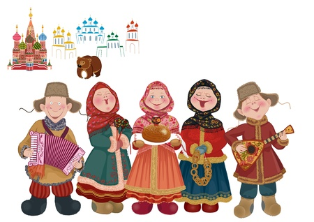 moscow churches: Cartoon people in traditional costume with musical instruments  balalaika and accordion  are welcome guests with a centuries-old Russian tradition - bread and salt  Illustration