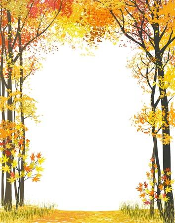 작은 숲: 흰색 배경에가 나무 프레임 구성 일러스트