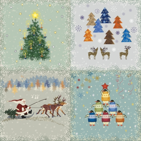 Four square retro christmas cards Stock Vector - 22642108