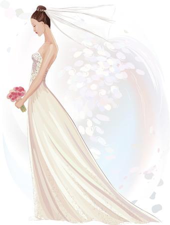 Vector illustratie van mooie meisje in trouwjurk in aquarel techniek