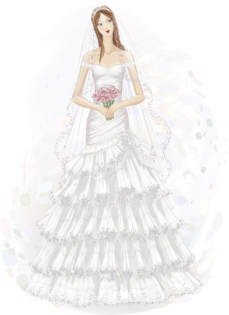 one girl only: Vector illustration of beautiful girl in wedding dress  Illustration