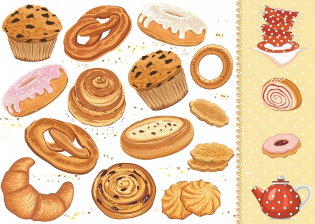 Set of pastry isolated over white background Vector