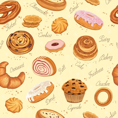 bakery store: Seamless pattern with various pastries