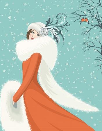 Portret van elegante vrouw in een rode jas met lange bontkraag op besneeuwde achtergrond