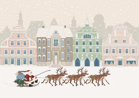 Christmas card with Santa Claus in the city Vector