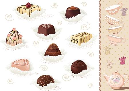 cafe bombon: Conjunto de dulces de chocolate sobre fondo blanco