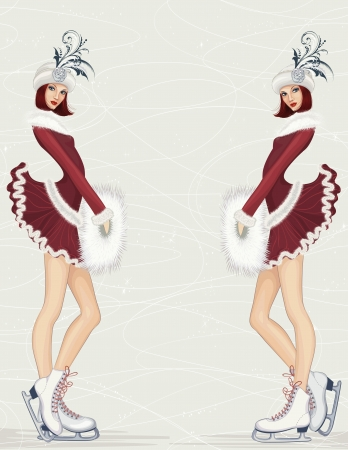 muff: Two girls in fancy costume at ice rink Illustration