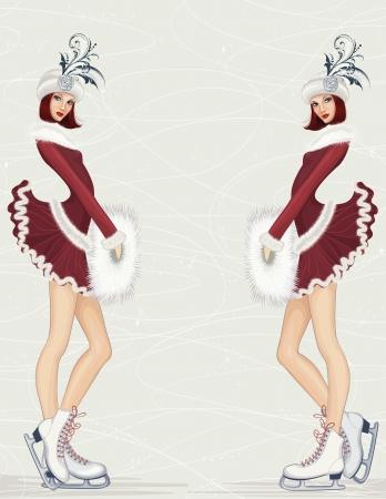 Zwei Mädchen in der Phantasie-Kostüm auf der Eisbahn