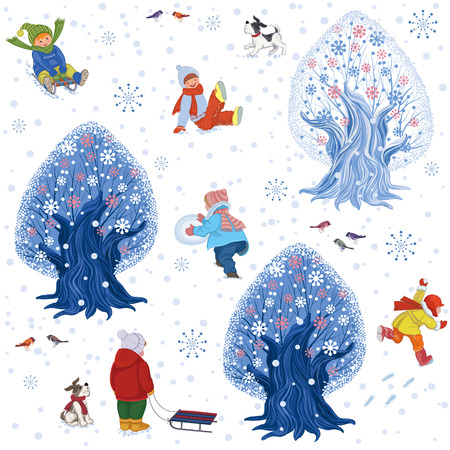 sledge dog: Seamless pattern with children outdoors in winter time