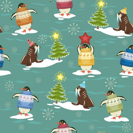 Seamless pattern with funny penguins in sweater on ice-floes and walruses rest upon ice-floes with Christmas tree Vector