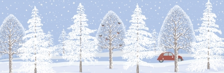 Winter landscape background with snowy trees Vector