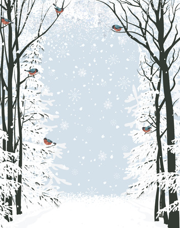 winter scene: Frame composition with trees on sides and flock of bullfinches  All objects are separated to layers Illustration