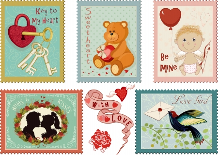 Colorful collection of Valentine's day stamps Stock Vector - 24865059