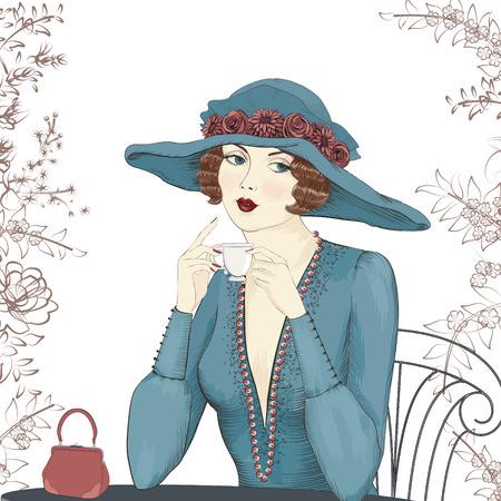아름다운 여자는 흰색 배경에 고립 된 커피 한잔과 함께 테이블에 앉아의 초상화 일러스트