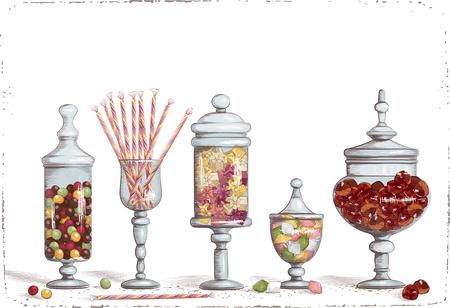golosinas: Conjunto de dulces de chocolate en frascos de vidrio sobre el fondo blanco Vectores