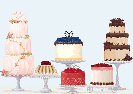 fancy cakes collection over blue background   Çizim