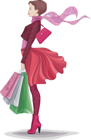 Young woman with bunch of shopping bags isolated on white Zdjęcie Seryjne - 26104597