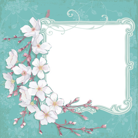 panting: Frame composition with blossoming cherry branch Illustration