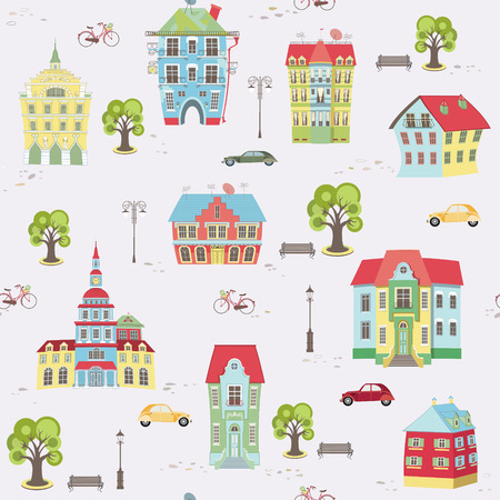city landscape: Seamless pattern with city landscape