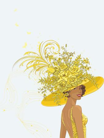 donne eleganti: Ritratto di una giovane donna in giallo decorazione di cappello con i fiori